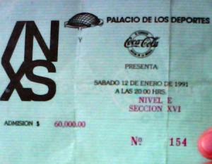 """Boleto de aquel histórico y sensacional concierto de INXS en la Ciudad de México en 1991 Imagen tomada del Blog: """"Inquisidor71"""""""